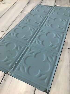 24x12 Antique Tin Ceiling Tile Vintage metal for craft projects decor Blue