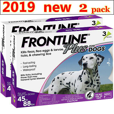 Frontline Plus for Dogs 45-88 lbs, Kill Repel Fleas and Ticks Fast, for 6 Months