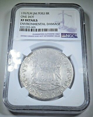 NGC 1767 LM JM Spanish Silver 8 Reales Eight Real Antique Colonial Dollar Coin