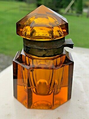 Beautiful Antique Cut Amber Glass Hinged Inkwell - BEAUTY!
