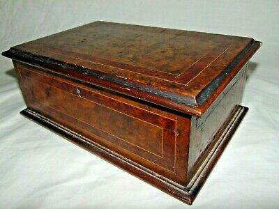 GOOD QUALITY ANTIQUE INLAID BURR WALNUT JEWELLERY BOX WORK BOX or SIMILAR