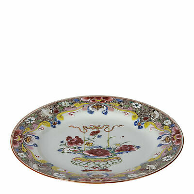 Chinese Qianlong Floral Painted Polychrome Plate 18Th C.