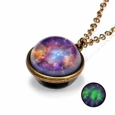 Glow in the Dark Vintage Solar System Pendant Necklace Galaxy Double Sided Glass