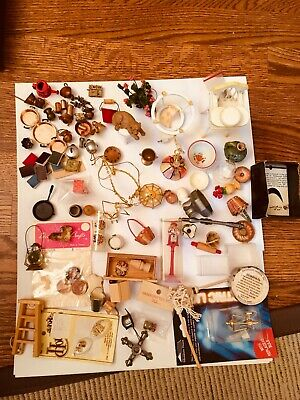 Large Lot of Miniature Doll House Items Pots Pan Broom Cups Flowers and More