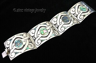 Vintage old MEXICAN Taxco RBR sterling silver ABALONE Wide panel link BRACELET