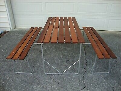 Remarkable Vintage Redwood And Aluminum Folding Table Benches Camping Machost Co Dining Chair Design Ideas Machostcouk