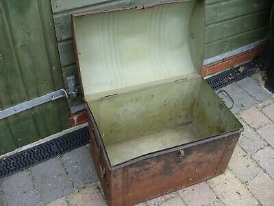 Antique Victorian round top tin trunk Geo. Thakray of Leeds