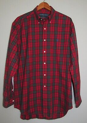 Polo Ralph Lauren Blake 100s 2-ply Cotton Red Plaid L/S Button Pony Shirt Sz M