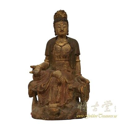 19 Century Antique Chinese Wooden Carved Kwan Yin statue