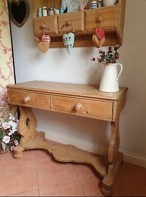 Antique Pine Console Table Sidetable Hall Kitchen Drawers PICKUP NOTTS