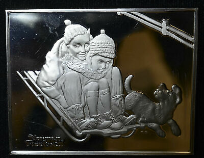 Norman Rockwell Fondest Memories Sterling Silver 925 medal 1500gr Fun Hill 65mm