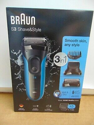 Braun S3 Shave & Style 3-in-1 Wet & Dry Rechargeable Electric Shaver 3010BT NEW