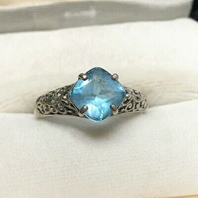 Exquisite Gorgeous Sterling Silver Ring With Blue Stone Topaz Filigree Antique