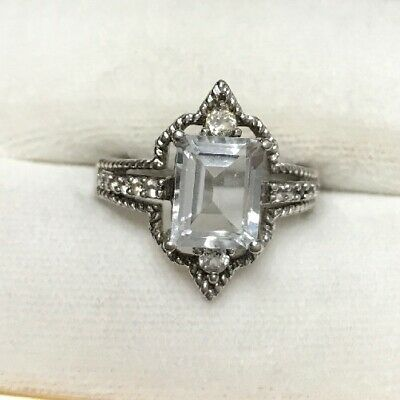 KGK Unique 925 Sterling Silver Ring With Cubic Zirconia Art Deco Style