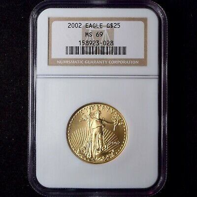 2002 $25 American Gold Eagle Tougher Date 1/2 Oz Ngc Ms69