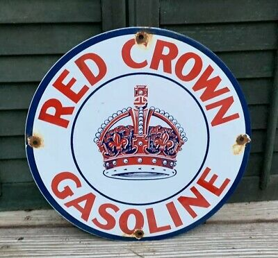 Vintage Red Crown Gasoline Porcelain Gas Oil Service Station Pump Plate Sign