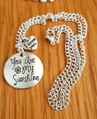 "You Are My Sunshine + I Love You Heart Silver Charms & Silver Chain 18"" Necklace"