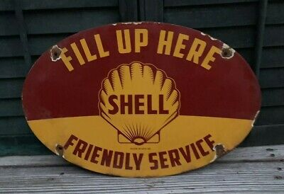 Vintage Shell Porcelain Sign Gas Oil Gas Station Advertising Sign