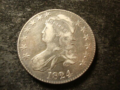 1824 VF XF Capped Bust Half Dollar Nice Looking Coin WZX