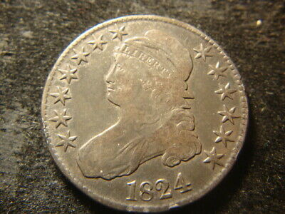1824 F VF Capped Bust Half Dollar Nice Looking Coin WZX
