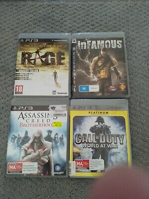 4x PS3 games- RAGE, INFAMOUS, CALL OF DUTY, ASSASSINS CREED