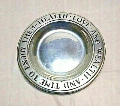 Vintage Wilton RWP Pewter 'Health Love and Wealth' & Time To Enjoy Them Plate