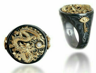 Vivid  Flying Dragon Cool Men's King Finger Ring Size 9 Engagement Jewelry