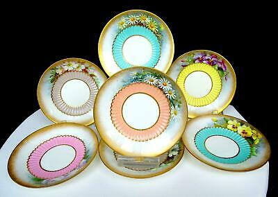 "George Jones Crescent China 7Pc Floral & Gold 4 3/8"" Demitasse Saucers 1874-1924"