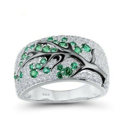 Women Vivid Emerald Gems Inlaid Silver Finger Ring Engagement Jewelry Gift Sz 9