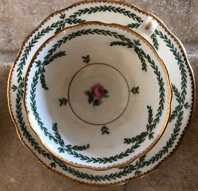 TIFFANY & CO Minton 6 Demitasse Cup & Saucer Pink Roses Green Gold Trim England
