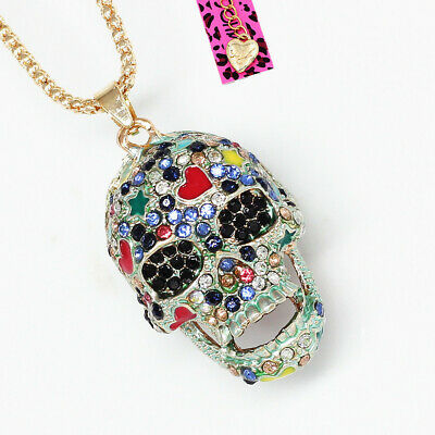Betsey Johnson Colorful Crystal Sugar Skull Head Pendant Sweater Chain Necklace