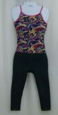 Girls Faded Glory Leggings Size 7-8 AND Athletic top Multi Color size unknown