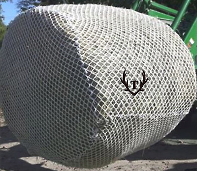 X-LARGE 6'x6' Knotted Round Bale Slow Feed Hay Net  (Hay Saver Net)