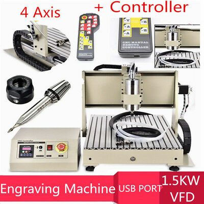4 Axis USB 1500W 6040 CNC Router Engraving Engraver Milling Machine+Controller
