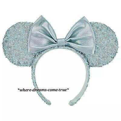 Disney Parks Frozen Arendelle Aqua Minnie Mouse Ears Sequin Headband (NEW)