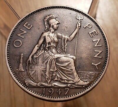 1947 Great Britain King George VI One Penny Large World Copper Coin- High Grade
