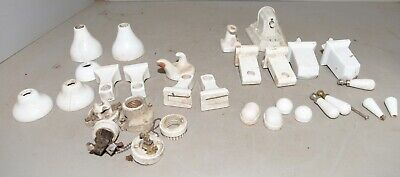 Antique Porcelain fixture bathroom collectible light towel bar handle & more lot