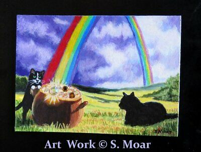 Black Cat Tux Kitten Rainbow Gold Swarovski Crystal ACEO Original Art Painting