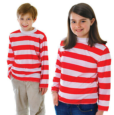 Childs Kids Red White Striped Top Fancy Dress Up Costume Week Outfit L x