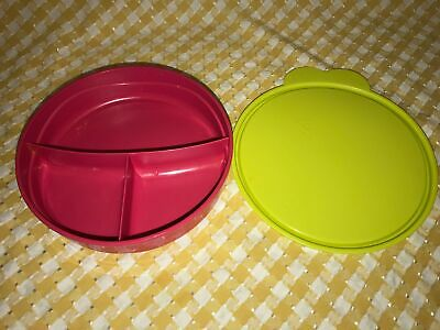 TUPPERWARE 2552-A2 pink divided dish bowl green double tab C seal kids toddlers