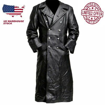 German Classic Ww2 Military Officer Uniform Black Genuine Leather Trench Coat