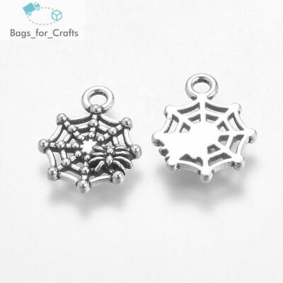 Spider Web Charm//Pendant Tibetan Antique Silver 30mm  10 Charms Accessory Crafts