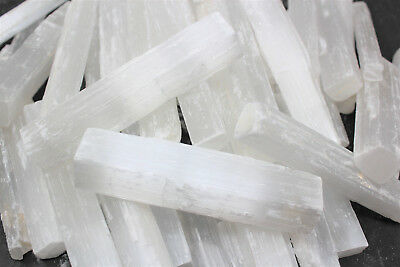 "2 lb Bulk Wholesale Lot 4"" Selenite Logs Crystal Sticks Wand 2 Pounds 32 oz"