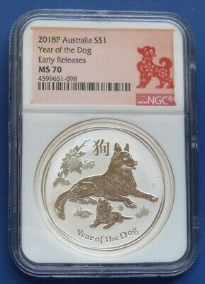 2018 Australia Lunar Year Of The Dog...$1 Aud...1 Oz. .9999 Silver..ngc Ms70..Er