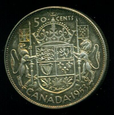 1953 NSF Queen Elizabeth II, Silver Fifty Cent Piece, Georgous Highlights   F37