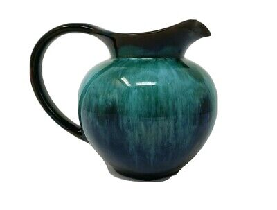 "Blue Mountain BMP Pottery Green Drip 4"" Pitcher Vintage"
