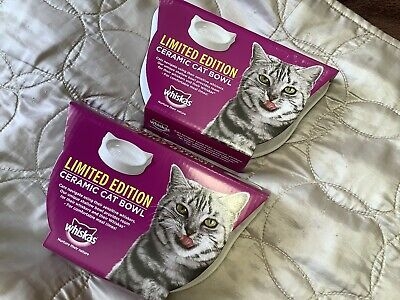 New 2 X WHISKAS Limited Edition White Ceramic Cat Bowls