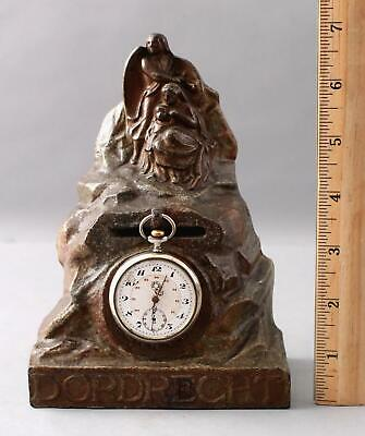 RARE! Antique Painted Cast Iron Dordrecht Bank & Pocket Watch Holder Guardian An