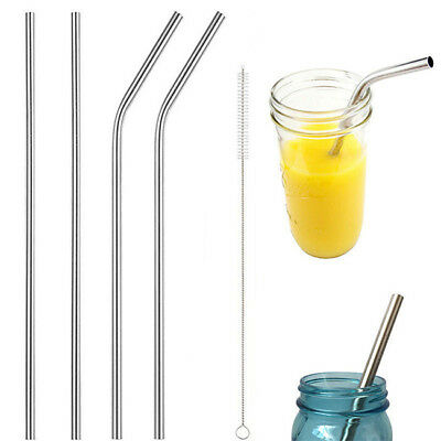 Stainless Steel Straws Drinking Metal Reusable Washable Long Bent Brush CB