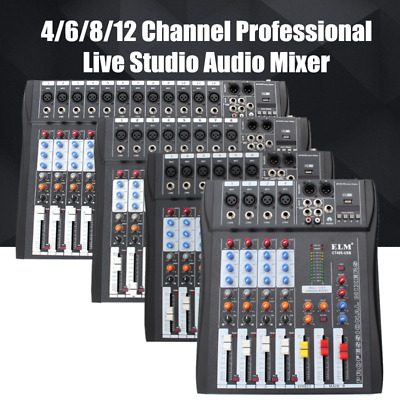 4/6/8/12 Channel Digtal Mic Line Audio USB Mixer Mixing Console with 48V Phantom